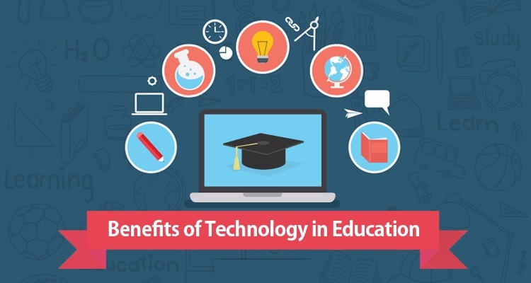 Image Representing The Text Benefits of Technology in Education in a blue background.